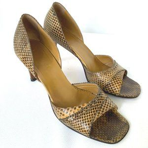 GUCCI Vintage Snakeskin Open-toed Pumps